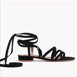 Madewell Holly Black Suede Lace Up Sandals